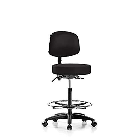 Perch Walter Rolling Doctor Stool with Footring and Adjustable Back Support for Medical Dental Salon Spa Office or Home 25