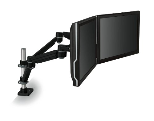 3M Easy Adjust Desk Mount Dual Monitor Arm, Adjust Height, Tilt, Swivel and Rotate by Holding and Moving Monitor, Free Up Desk Space, Clamp or Grommet, For Monitors to 20 lbs <= 27'', Black (MA260MB) by 3M