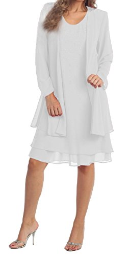 Mother of the Bride Formal Evening Church Gown 8694S-WHITE-XL - White Jacket Dress