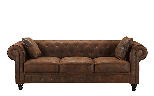 Large Chesterfield Tufted Faux Suede Sofa, Scroll Arm Distressed Couch (Dark Brown) ()