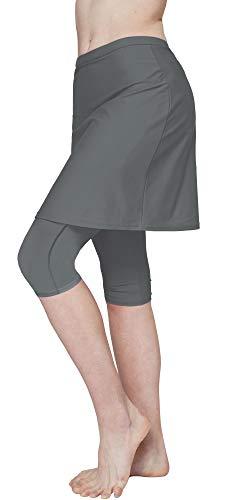HonourSex Women Swim Skirted Leggings UPF50+ High Waist Swimsuits Skorts Bottoms, Surfing Beach Athletic Capri Skirts