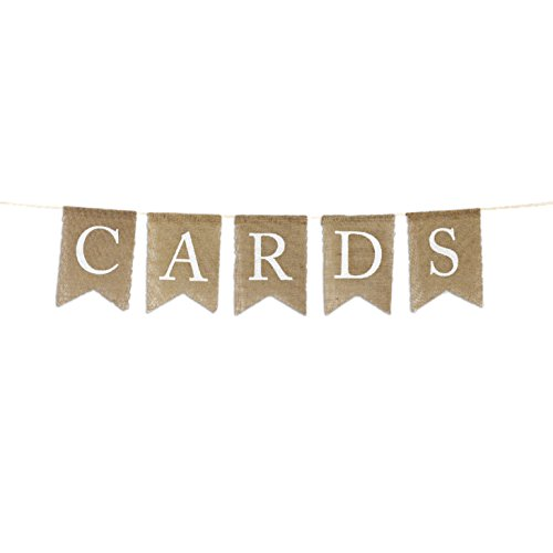 (Andaz Press Real Burlap Fabric Pennant Hanging Banner Cards, Pre-Strung, No Assembly Required, 1-Set)