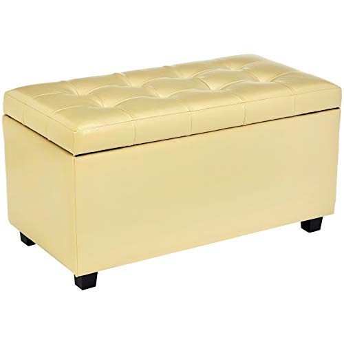 - Red Hook Ravenna Storage Ottoman Bench with Faux-Leather Upholstery, Creamy Latte