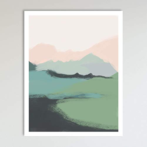 Mountain View, Minimalist Abstract Art, Blue Green and Pink Contemporary Wall Art For Bedroom and Home Decor, Modern…