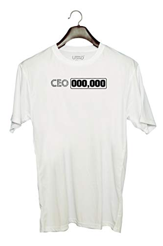 Photo of UDNAG Unisex Round Neck Graphic 'CEO   CEO,000,000' Polyester T-Shirt White [Size 2YrsOld/22in to 7XL/56in]