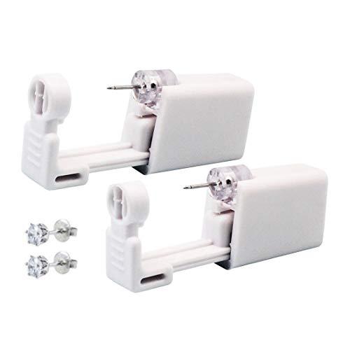 Self Ear Piercing Gun Ear Piercing Gun Kit Nose Piercing Gun Disposable Self Safety Ear Piercing Gun Kit Tool With Earrings 2 Pack (White Crystal 253#) (Piercing Ear Kit Cheap)