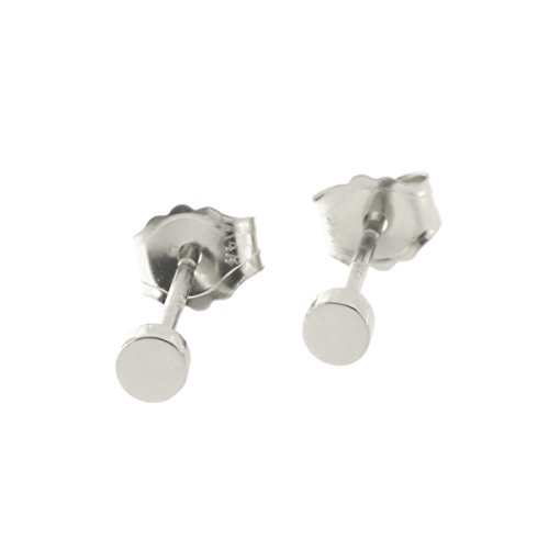 14k White Gold Circle Earrings - Automic Gold Solid 14k White Gold Circle Earrings, 2.5mm