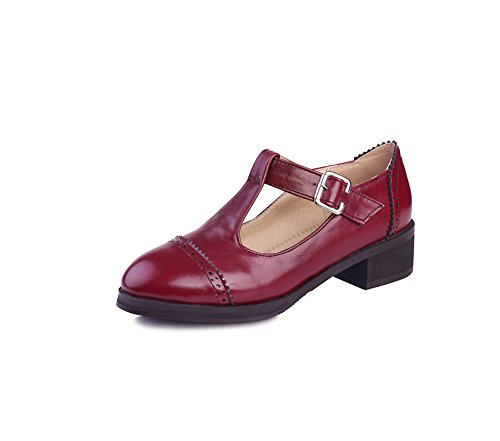 Easemax Womens Casual Round Toe Low Cut Ankle Strap Chunky Mid Heel Pumps Shoes with Buckles Red Fij21v134Z