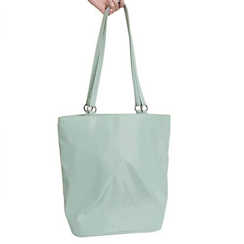 Belsmi Nylon Zipper Shoulder Bag Shopping Canvas Totes Bag (0 Ring Green)