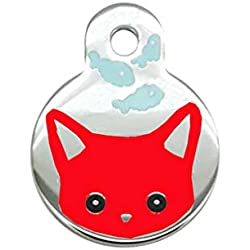 Vet Recommended Pet ID Tag Cat Personalized Many Shapes and Colors to Choose Tag (Red)