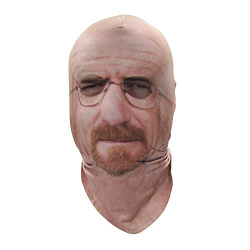 Walter White And Jesse Pinkman Halloween (Faux Real Unisex-Adult's Halloween 3D Photo-Realistic Full Fabric Face Mask, Breaking Bad Walter White, One Size Fits)