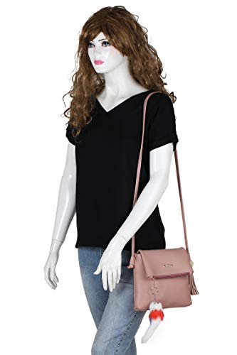 GLOSSY PU Sling Bag For Women - Pink