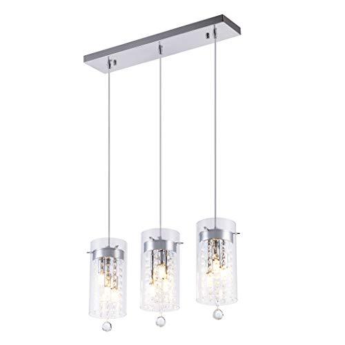SHENGYADI Glass & Crystal Multi Pendant Modern 3-Light Mini Cylinder Chandelier G9 Kitchen Island Lighting Fixture with Long Base, Chrome Finish ()