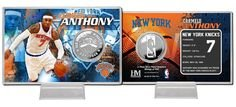(The Highland Mint 1 Pc, New York Knicks Carmelo Anthony Coin Card - Silver Stad, 39mm Minted Silverplate Coin, 4x6 Acrylic Display With Printed Color Graphics Of Teams Field, Display Stand Included)