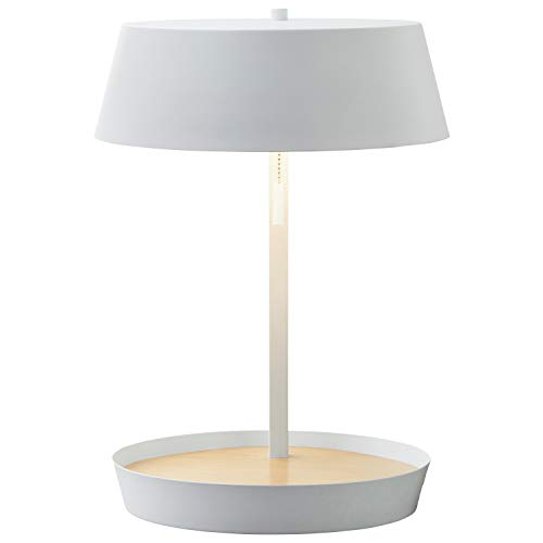 """Amazon Brand – Rivet Modern Table Lamp with USB and Bulb, 18""""H, White"""