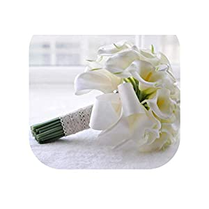 mamamoo Real Touch Yellow Calla Lily Wand for Bridesmaid Flower Girl Keepsake Mini Flower Wand Wedding Bouquet Bridal 58