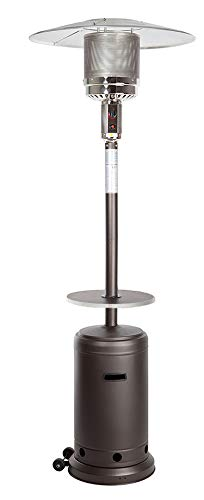 Golden Flame 46,000 BTU [XL-Series] Mocha (Matte Finish) Patio Heater w/Drink Table & Wheels (Propane)