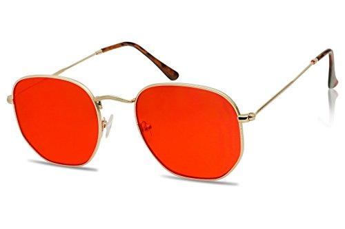 Round Geometric Pantone Colored Tinted Flat Lens Ultra Slim Metal Hexagonal Sun Glasses (Gold, - Or Transparent Sunglasses Translucent Are