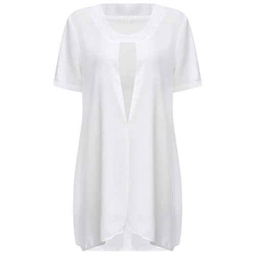 KCatsy Fashion Plunging Neck Slit Design Color Chiffon Women Dress White ()