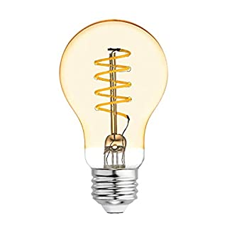 GE Lighting 36505 Amber Glass Light Bulb Dimmable LED Vintage Style A19 5 (60-Watt Replacement), 250-Lumen Medium Base, 1-Pack, Warm Candle