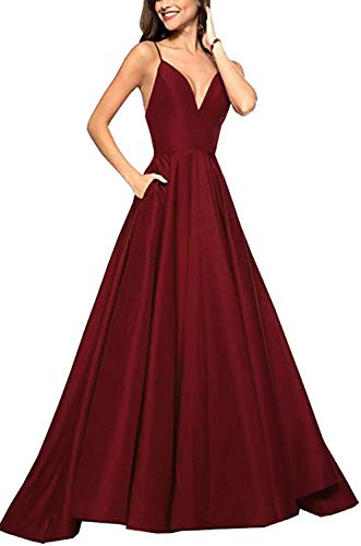 RrBoy Women's Spaghetti Strap V Neck Prom Dresses Long 2019 A-line Satin Formal Evening Ball Gowns with Pockets Burgundy