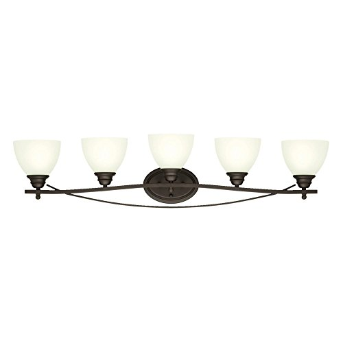 Westinghouse Lighting 6303600 Elvaston Five-Light Indoor Wall Fixture, Oil Rubbed Bronze Finish with Frosted Glass, ()
