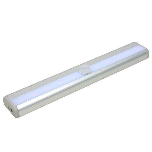 Luce di notte della luce eDealMax PIR ricaricabile Motion Sensing LED portatile senza fili del sensore di movimento per il Corridoio Closet Scale Bagno Camera da letto Cucina w bianco caldo