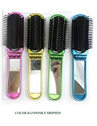 NaRaMax Folding Hair Brush With Mirror Compact Pocket Size Travel Car For Purse Bag
