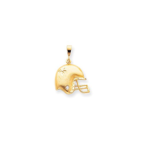 Brilliant Bijou Solid 10k Yellow Gold Football Helmet Charm 30x21 mm