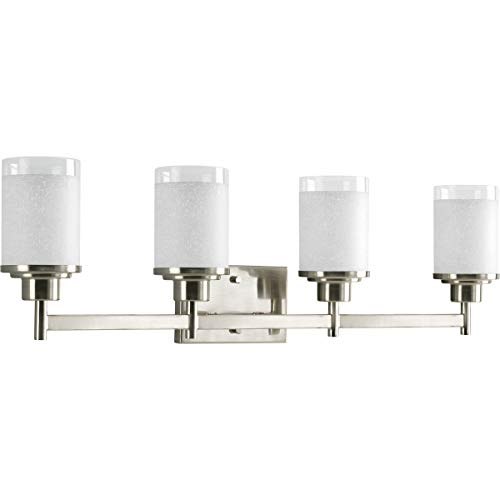 (Progress Lighting P2998-09 Alexa Collection 4-Light Vanity Fixture, Brushed Nickel,)