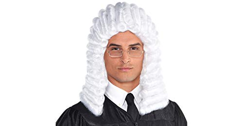 Amscan Judge Halloween Wig for Adults, One Size White