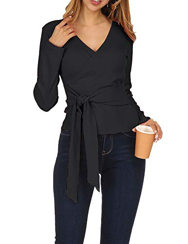 Zumla Women's Sexy Wrap V Neck Long Sleeve Knit Top Tie Front T Shirts Black -