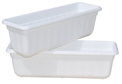 White Flower Boxes - Premium High-Density Plastic Planter & Flower Window Box Gina 18