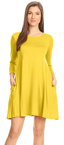 Womens Yellow T Shirt Winter Dress Regular and Plus Size Casual Jersey Dress Flowy Tee Shirt Dress (Size Small, Yellow 3/4 Sleeve)