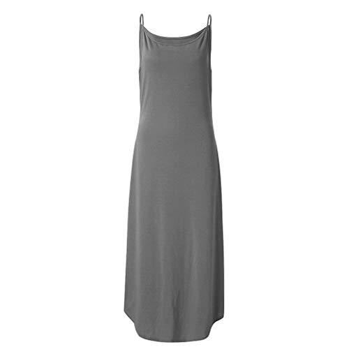 Qingell Dress Women's Summer Casual Dress Stripe Sleeveless Loose Maxi Dress Beach Swing Skirt Cover Up Slits Dress Gray