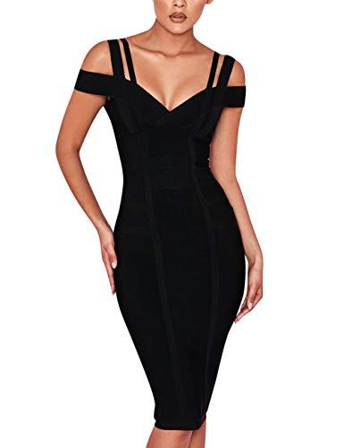 FLYCOOL Women's Off Shoulder V Neck Bandage Clubwear Party Bodycon Dress Black ()