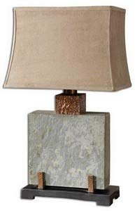Uttermost 26321-1 Slate Square Table Lamp 17 x 12 x 28.75