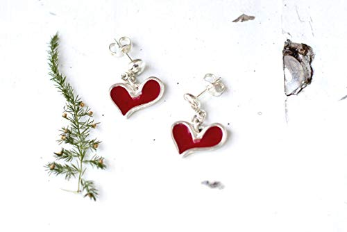 - Sterling Silver Heart Earrings, Bordeaux Cute Long Post Earrings, Deep Red Unique Drop Studs, Handmade Statement Jewelry For Her, Love Gift for Women and Girls