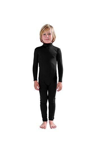 Full Bodysuit Kids Dancewear Without Gloves and Socks Solid Color Lycra Spandex Zentai Child Unitard (L, Black) ()