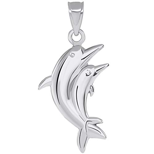 14k White Gold 3D Two Dolphins Jumping Together Vertical - Gold White Two Dolphins
