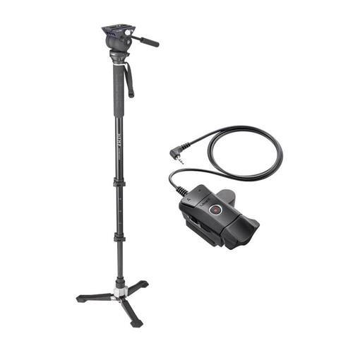 LibecハンズフリーMonopod withデュアルベースビデオヘッドand Carryingケース – with Libec zfc-lズーム、フォーカスコントロールfor LANCビデオカメラ   B0789DRZXF