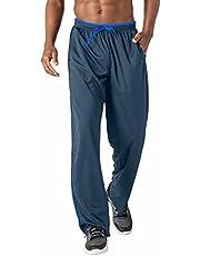 BIYLACLESEN Men's Jogger Sweatpants Zipper Pockets Breathable Running Gym Workout Athletic Mesh Pants Open Bottom