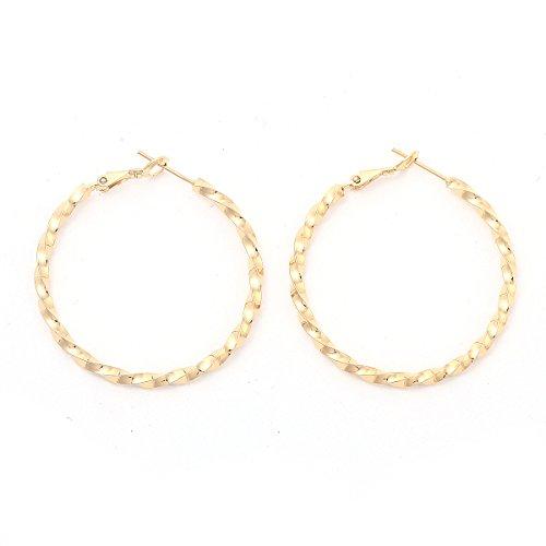 Followmoon 18K Gold Plated Women's Rope Hoop Earrings 20mm-50mm (40mm Rope Hoop Earrings)