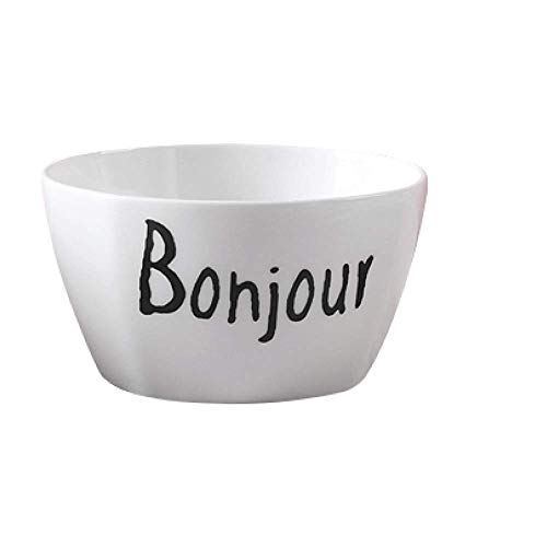 Bonjour Ins Creative Ceramic Bowls Square Salad White Bowl France Greeting Words Letter Pattern Porcelain Tableware Pasta Cereal Fruit Dessert Rice Soup Noodle Kid Friend Family Couple