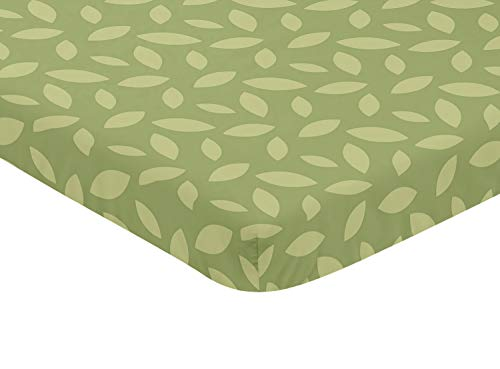 Sweet Jojo Designs Green Leaf Baby Fitted Mini Portable Crib Sheet for Jungle Time Collection