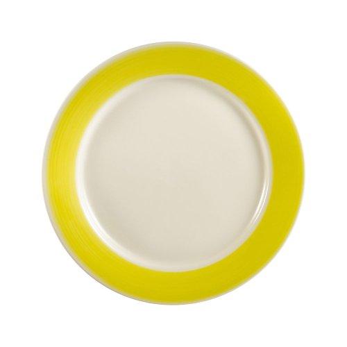 CAC China R-7-YELLOW Rainbow Rolled Edge 7-1/4-Inch Yellow Stoneware Round Plate, Box of 36