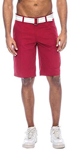 TR Fashion Men's Bahamas Belted Walking Shorts (Wine, 34) ()