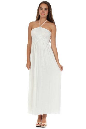 Sakkas 5026 Comfortable Jersey Feel Solid Color Smocked Bodice String Halter Maxi/Long Dress - Ivory/Small