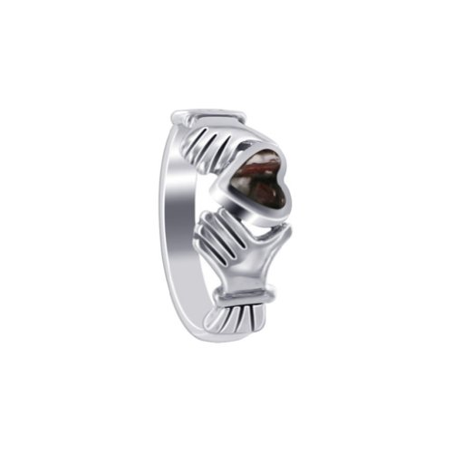 925 Sterling Silver Irish Claddagh Ring Size 8 with Wild Horse Stone Heart