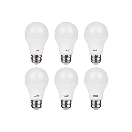 LUNO A19 Non-Dimmable LED Bulb, 11W (75W Equivalent), 1100 Lumen, 4000K (Neutral White), Medium Base (E26), UL Certified (6-Pack)
